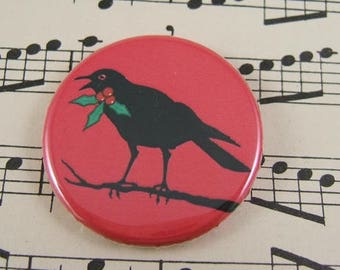 3 Christmas Crow Pin Back Buttons