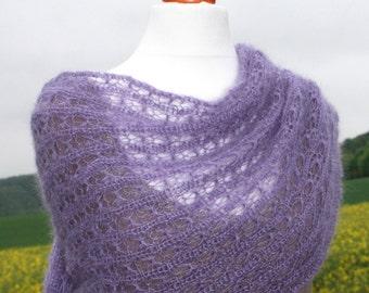 Bridal shawl / mohair / silk / lace / lavender / wrap / wedding