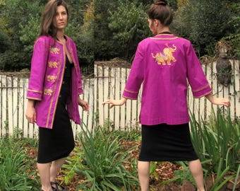 Vintage BOB MACKIE Fuchsia Jacket with Elephant Embroidery on Front & Back size L