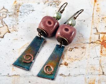 Aurora Boreal, Bohemian Chic Earrings, Enameled Copper Charms, Mauve Ceramic Beads, Green Artisan Earrings