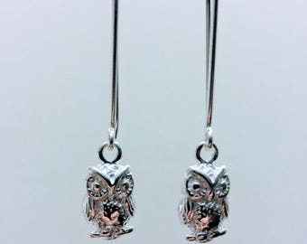 Owl Earrings , Owl Sterling Silver Earrings, Dangle Earrings, Owl Silver Earrings, Owl Dangle Earrings Silver, Owl Silver Dangle Earrings