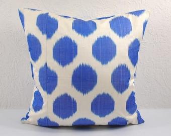 Ikat Pillow, Blue Ikat Pillow Cover MPI11, Ikat throw pillows, Designer pillows, Decorative pillows, Accent pillows