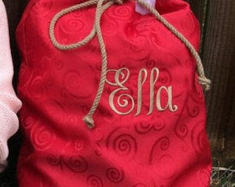 Christmas Stocking Present Santa bag Bag, Red Santa SACk, Christmas, Stocking Christmas Gift Custom Embroidered Name by Canyon Embroidery