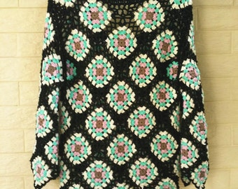 Crochet Granny Square Sweater Long Sleeve Women Jumpers