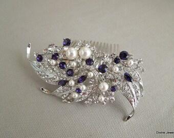 Bridal Hair Comb, Swarovski Crystal and Pearl Wedding hair Comb, Wedding Hair Accessories, Vintage Style wedding, crystal hair comb, ETTA