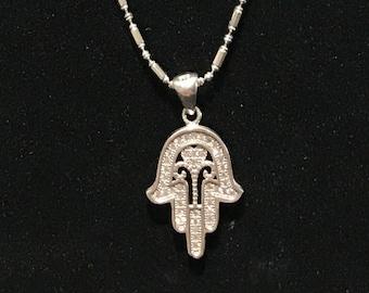 Ornate Khamsa/Hand of Fatima Silver Necklace