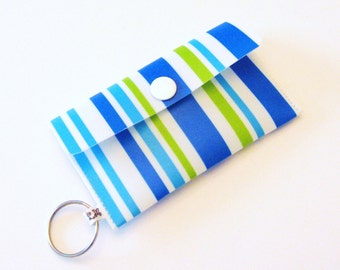 Business Card Holder Card Case Small Purse Stripes in Blue White and Green