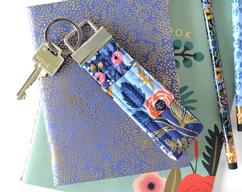 Rifle Paper Co Fabric Keychain Wristlet, Les Fleurs Key Chain for Women, Key Wristlet Key Fob Lanyard, Gift for Mom, Floral Keychain for Her