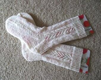 Socks - Handknitted Socks for Women or Boys - Color White/Cream - Size Medium 5.5-6 US