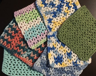 Singular dish cloths, cotton crochet.