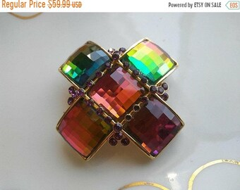 ON SALE Maltese Cross Pink Purple Blue Green Yellow Rhinestone Brooch * Designer Signed Vintage Jewelry * 1980's 1990's Collectible Jewelry