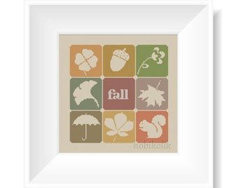Autumn-Cross Stitch Pattern-Modern Sampler-Pdf-Instant Download