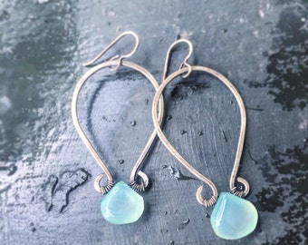 Hand Formed Hammered Silver Hoops with Mint Chalcedony Teardrops