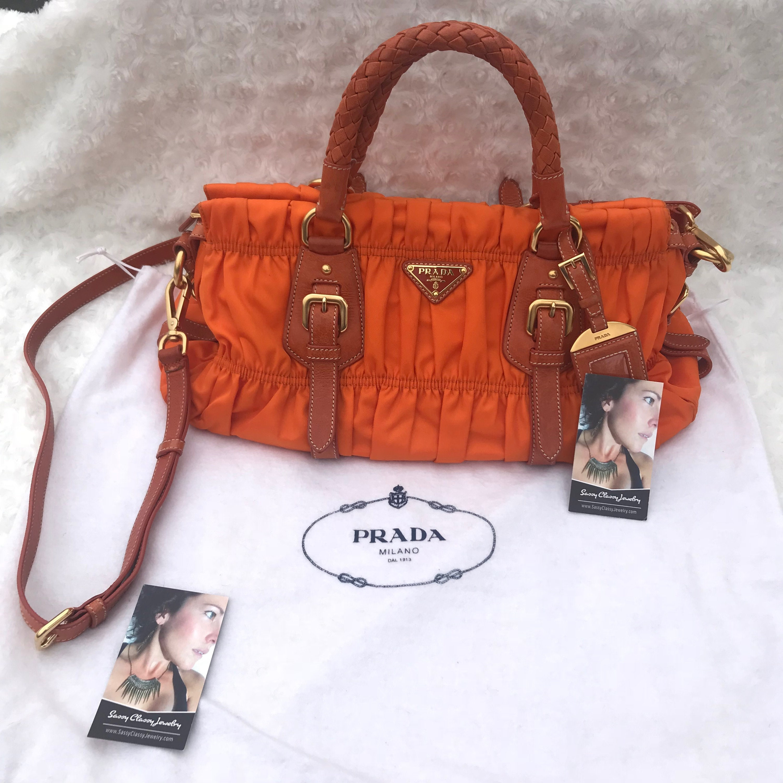 f5411cfb20b9 100 authentic prada ruched gaufre hand bag orange nylon leather 393e7