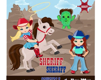 Cute Cowgirl Clipart  Red Blue / Personal and Commercial Use/ Instant Download Western Graphics