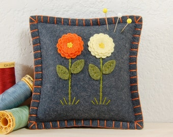 Wool Felt Pincushion • Orange and Yellow Flowers on Grey • Hand Embroidered • Pin Pillow