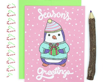 Penguin Christmas Card, Cute Christmas Cards, Seasons Greetings, Rustic Christmas Card, Children, Kids Gift, Holiday Cards, Artic Animals