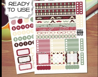 Dapper Mustache Weekly Layout Stickers for MAMBI Happy Planner MINI