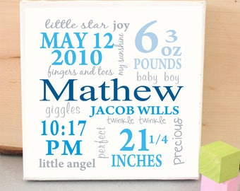 newborn canvas decor wall art nursery canvas Typography canvas print ,  custom canvas for baby ,New Baby Wall Art Announcement Canvas