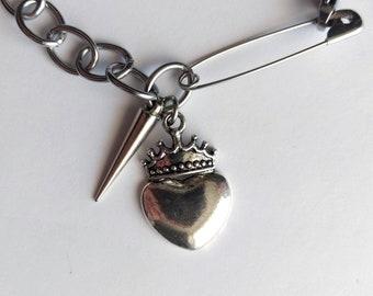 Stainless Steel Crown Heart Spike Bracelet - Pagan Jewelry Goth Jewelry Gothic Jewelry Visual Kei Jewelry Harajuku Fashion Occult Jewelry
