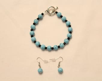Matching Blue and Black Bracelet and Earrings Set