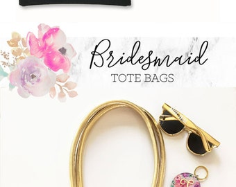 Bridesmaid Tote Bag Gold Bridesmaid Gift Bag Black and Gold Bridesmaid Bags Bridesmaid Gift Ideas (EB3127BPW)