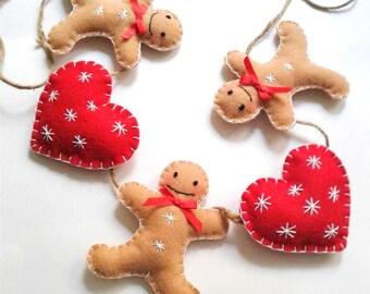 Gingerbread Man Garland - Christmas Garland - Felt gingerbread & red heart garland