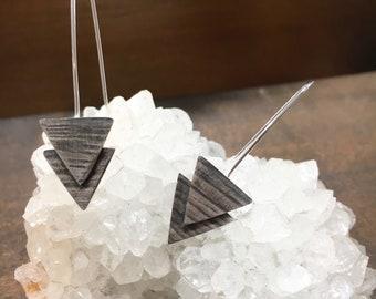Double Arrow Earrings, Triangle, Geometric Jewelry, Minimalist, Dangle Earrings
