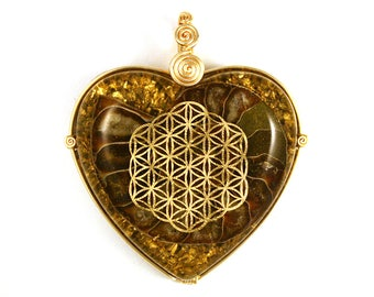 Ammonite with 22k Gold Flower of Life (collaboration with Sacred State Design) - Orgone Pendant