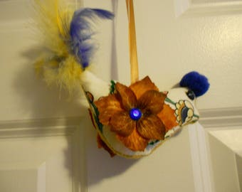 Bird ornament blue , gold, feathered, recycled, stuffed, handmade, julieannmade folk art primitive