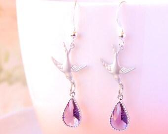 Dainty Bird Earrings Purple Amethyst Drop Earrings Silver Sparrow Earrings Dangle Bird Earrings Romantic Jewelry Valentines Day Gift For Her