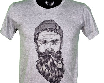 Navy - beard - illustration grey t-shirt / / bearded man hipster art drawing grey color tee shirt color white / / gl boutik