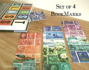 Postage Stamp Bookmark Set, Eclectic colourful art print bookmarks