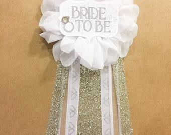 Bride To Be Pin Flower Ribbon Pin silver White glam Corsage Glitter Rhinestone Bride ring bling wedding bridal shower pin