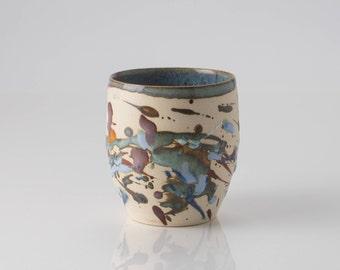 Small abstract stoneware pot - Vasetto in gres con decori astratti