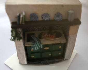 Dolls House Miniatures - Hand Painted Pretty 1/48th (1/4inch) quarter scale - Kitchen Stove - NEW Summer 2018