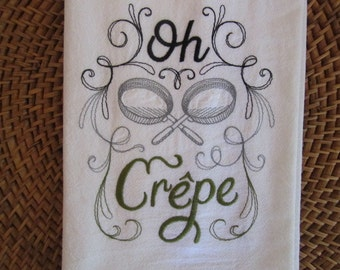 Oh Crepe - Kitchen Flour Sack Towel - Gourmet - Natural Cotton