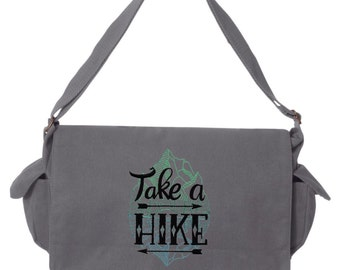 Take a Hike Embroidered Canvas Cotton Messenger Bag