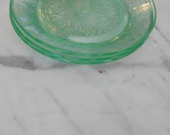 Set of 3 Vintage antique Green Vaseline Glass Plates