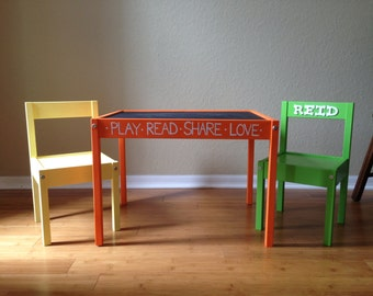 Personalized, Hand Painted Childrensu0027 Table And Chairs With Chalkboard Top Kids  Furniture Child Bedroom