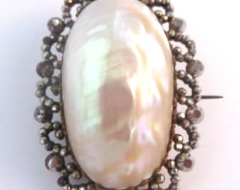 Antique Brooch, Victorian Brooch, Large Cut Steel And Mother Of Pearl Brooch.