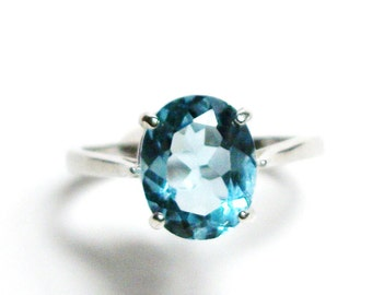 """Blue topaz, sky topaz ring, topaz ring, blue ring, birthstone topaz, solitaire ring,  s7 1/4   """"Downy Blue    """""""
