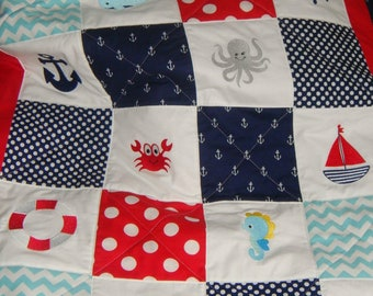 Ready to ship - Nautical Baby / Toddler Quilt - 12 Embroidered images - Whales, Anchor, Light House, Crab, Seahorse, Sail Boat, Red Minky