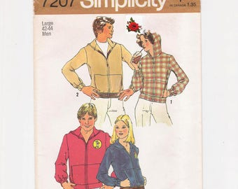 """Vintage Simplicity men's sewing pattern, """"Men's Hooded Sweatshirt"""", front zipper, size Large, chest 42 - 44"""", waist 36 - 39"""", from 1975."""