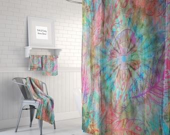Hippie Boho Shower Curtain Optional Bath Mat Bathroom Blowing Feathers