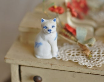 dollhouse miniature cat, artisan made vintage porcelain cat