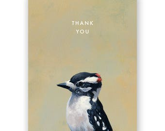 Downy Woodpecker Thank You Card - Birds - Greeting - Stationery