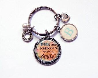 Reason to smile key ring, Monogram keyring, key chain, stocking stuffer, gift under 10, gift for her, inspirational, gift for friend (7698)