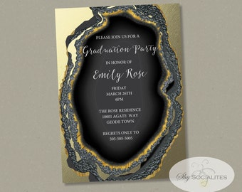 Geode Invitation | Black & Gold Dipped Agate Slice | INSTANT DOWNLOAD easy to edit text!