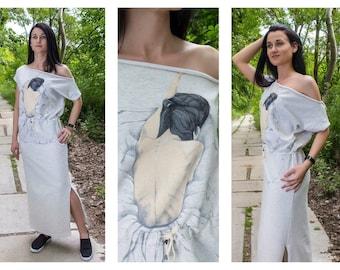 Handmade Dress / Hand Painted Dress / Women's Dresses /Long Dress / Cotton Dress / Off-the-shoulders dress